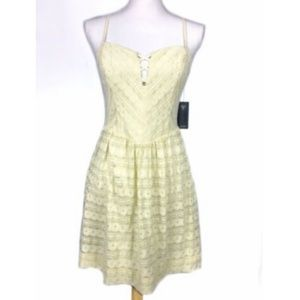 NEW Guess 8 Lace Dress Fit Flare Linear Dot Boned